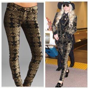 7FAM Black Velvet Skinny Jeans With Gold Brocade